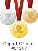 Royalty-Free (RF) Medals Clipart Illustration #21207