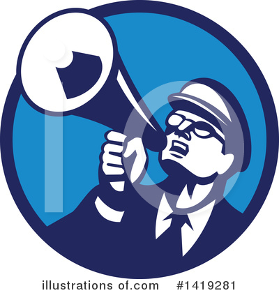 Royalty-Free (RF) Megaphone Clipart Illustration by patrimonio - Stock Sample #1419281