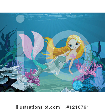 Mermaid Clipart #1216791 by Pushkin