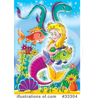 Royalty-Free (RF) Mermaid Clipart Illustration by Alex Bannykh - Stock Sample #33304