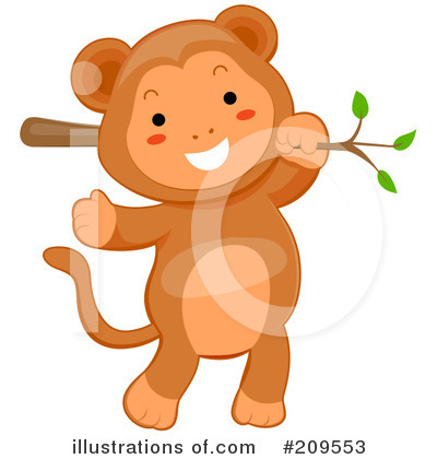 Royalty-Free (RF) Monkey Clipart Illustration by BNP Design Studio - Stock Sample #209553