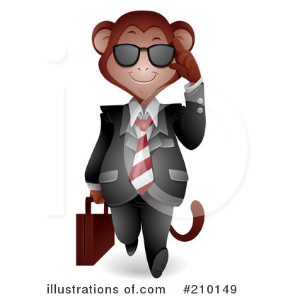 Royalty-Free (RF) Monkey Clipart Illustration by BNP Design Studio - Stock Sample #210149