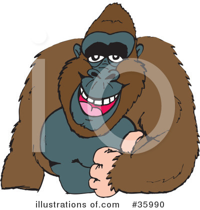 Monkey Clipart #35990 by Dennis Holmes Designs