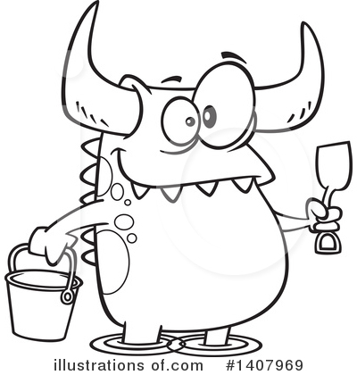 Royalty-Free (RF) Monster Clipart Illustration by toonaday - Stock Sample #1407969