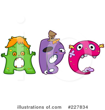 Royalty-Free (RF) Monster Letters Clipart Illustration by BNP Design Studio - Stock Sample #227834
