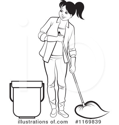 Child Mopping Floor Colouring Pages