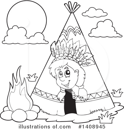 Royalty-Free (RF) Native American Clipart Illustration by visekart - Stock Sample #1408945
