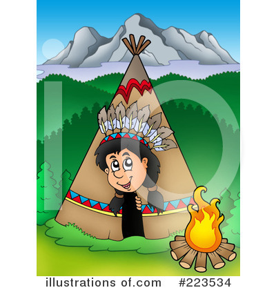 Royalty-Free (RF) Native American Clipart Illustration by visekart - Stock Sample #223534