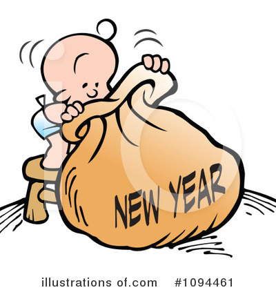 New Year Baby Clipart #1094461 by Johnny Sajem