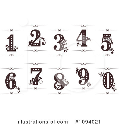 Vintage Numbers Clipart #1094021 by Vector Tradition SM