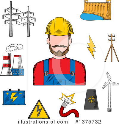 Electrician Clipart #1375732 by Vector Tradition SM