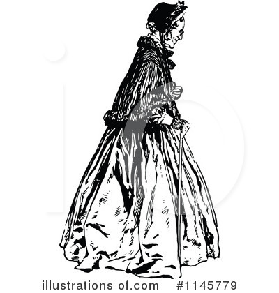 Royalty-Free (RF) Old Woman Clipart Illustration by Prawny Vintage - Stock Sample #1145779