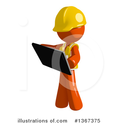 Royalty-Free (RF) Orange Construction Worker Clipart Illustration by Leo Blanchette - Stock Sample #1367375