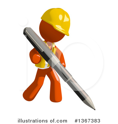 Orange Construction Worker Clipart #1367383 by Leo Blanchette