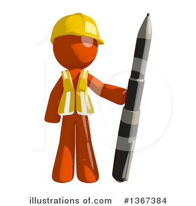 Orange Construction Worker Clipart #1367384 by Leo Blanchette