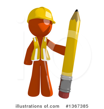 Orange Construction Worker Clipart #1367385 by Leo Blanchette