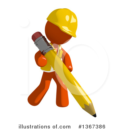 Orange Construction Worker Clipart #1367386 by Leo Blanchette