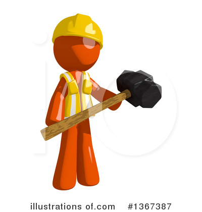Orange Construction Worker Clipart #1367387 by Leo Blanchette