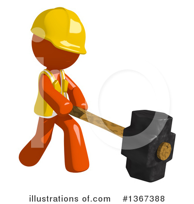 Orange Construction Worker Clipart #1367388 by Leo Blanchette