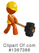 Royalty-Free (RF) Orange Construction Worker Clipart Illustration #1367388