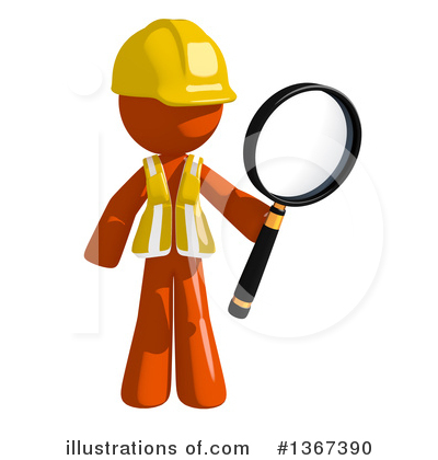 Orange Construction Worker Clipart #1367390 by Leo Blanchette