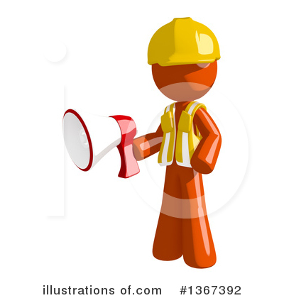 Contractor Orange Man Clipart #1367392 by Leo Blanchette