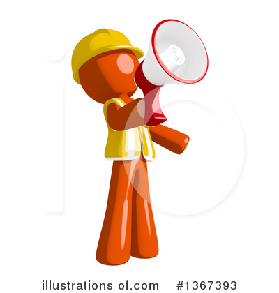 Contractor Orange Man Clipart #1367393 by Leo Blanchette