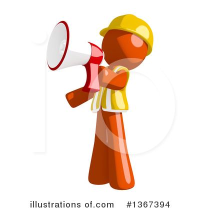 Contractor Orange Man Clipart #1367394 by Leo Blanchette