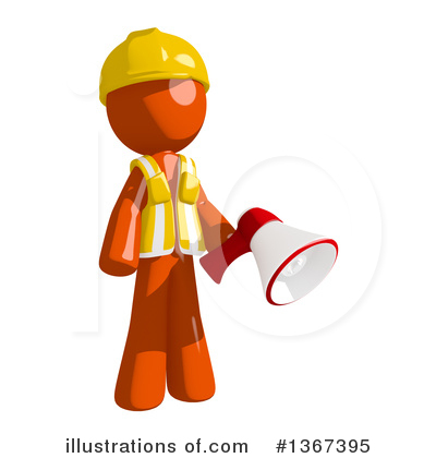 Contractor Orange Man Clipart #1367395 by Leo Blanchette