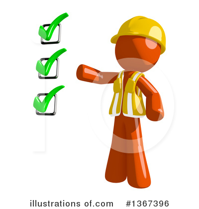 Orange Construction Worker Clipart #1367396 by Leo Blanchette