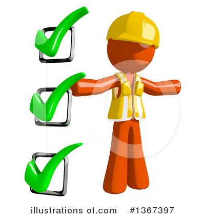 Orange Construction Worker Clipart #1367397 by Leo Blanchette