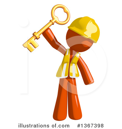 Orange Construction Worker Clipart #1367398 by Leo Blanchette