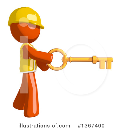 Contractor Orange Man Clipart #1367400 by Leo Blanchette