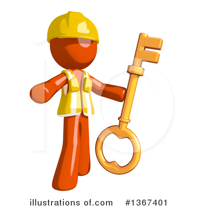 Contractor Orange Man Clipart #1367401 by Leo Blanchette