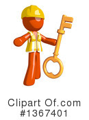 Royalty-Free (RF) Orange Construction Worker Clipart Illustration #1367401