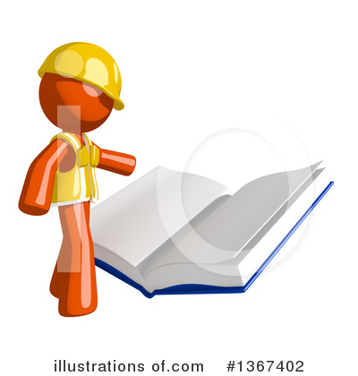 Contractor Orange Man Clipart #1367402 by Leo Blanchette