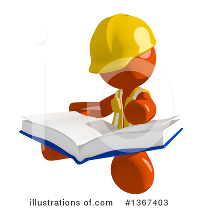 Contractor Orange Man Clipart #1367403 by Leo Blanchette