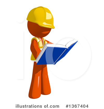 Orange Construction Worker Clipart #1367404 by Leo Blanchette