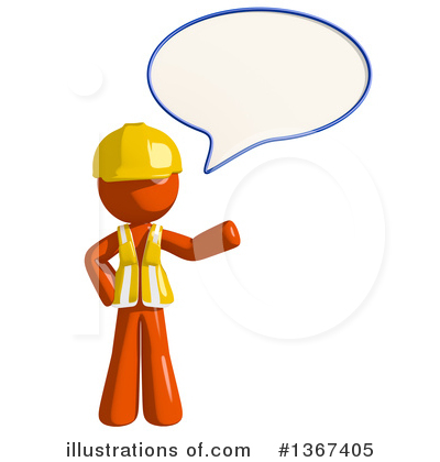 Orange Construction Worker Clipart #1367405 by Leo Blanchette