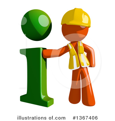 Orange Construction Worker Clipart #1367406 by Leo Blanchette