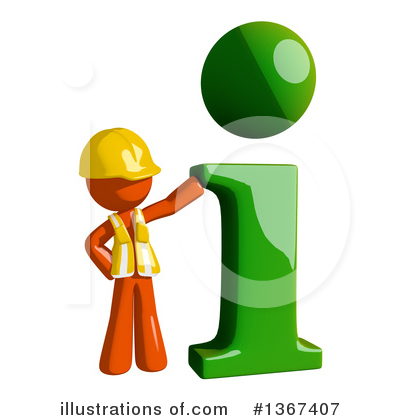 Orange Construction Worker Clipart #1367407 by Leo Blanchette