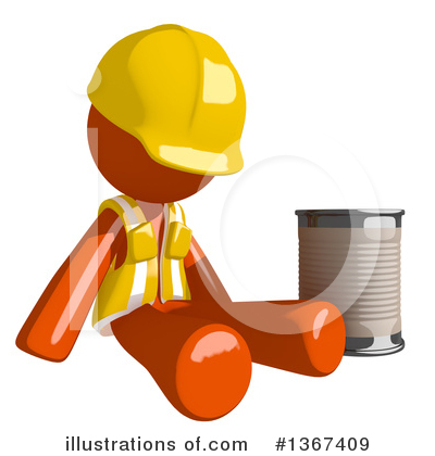 Orange Construction Worker Clipart #1367409 by Leo Blanchette