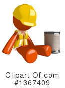 Royalty-Free (RF) Orange Construction Worker Clipart Illustration #1367409
