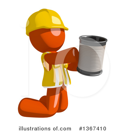 Contractor Orange Man Clipart #1367410 by Leo Blanchette