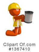 Royalty-Free (RF) Orange Construction Worker Clipart Illustration #1367410