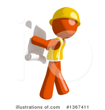 Orange Construction Worker Clipart #1367411 by Leo Blanchette