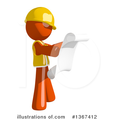 Orange Construction Worker Clipart #1367412 by Leo Blanchette