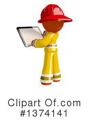 Orange Man Firefighter Clipart #1374141 by Leo Blanchette