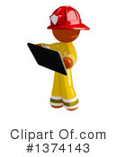 Orange Man Firefighter Clipart #1374143 by Leo Blanchette