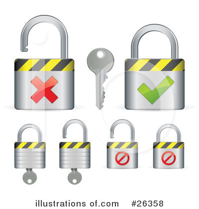 Royalty-Free (RF) Padlock Clipart Illustration by beboy - Stock Sample #26358